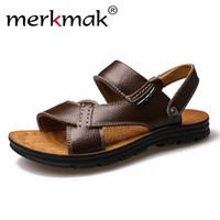 sandalet hakiki deri erkek yeni toptan satış-Merkmak 2017 Yeni Yaz Erkekler Plaj Sandalet Hakiki Deri Rahat Ayakkabılar Tatil Terlik Erkek Konfor Yumuşak Düz Sandalet Ayakkabı