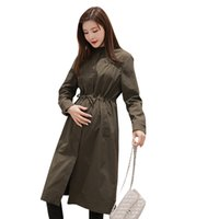 модная грудь оптовых-Pengpious 2019 весной и осенью пальто беременной женщины свободные модные пальто однобортный шнурок талии вскользь