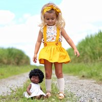 cabeça amarela flor crianças venda por atacado-Roupa da menina da criança camisa da flor Do Bebê + saia suspender amarelo + Headband 3 pcs Set Crianças Conjunto de Roupas de Verão