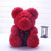 urso vermelho venda por atacado-25 centímetros grande urso de pelúcia rosa vermelha flor artificial rosa casamento urso decoração do partido dom Dia dos Namorados