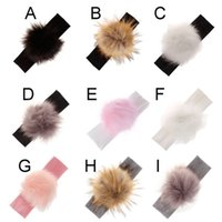 меховая кукла для девочки оптовых-Raccoon Faux Fur Pompoms Baby Headband Cotton Children Girls Elastic Hair Bands Turban For Girl Toddler Headbands Nov3-A