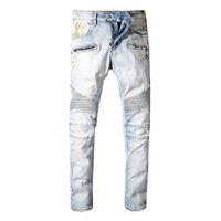 neues jeansmuster großhandel-Balmain New Fashion Designer Jeans Männer Marke Luxus Lange Länge Muster Frühling Sommer Stil England Business Casual Solide Denim
