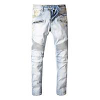 nuevo patrón de jeans al por mayor-Balmain Nuevo diseñador de moda Jeans Hombres Marca de lujo Largo Longitud completa Patrón Primavera Verano Estilo Inglaterra Negocio Casual Sólido Denim