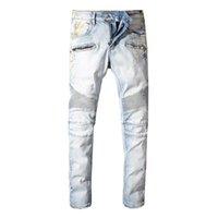 iş rahat erkekler kot pantolon toptan satış-Balmain Yeni Moda Tasarımcısı Kot Erkekler Marka Lüks Uzun Tam Boy Desen Bahar Yaz Tarzı İngiltere Iş Rahat Katı Denim