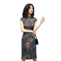 manto vintage chinês venda por atacado-Qipao cheongsams dress mulheres chinesas de algodão tradicional do vintage retro impresso manga curta vestido cheongsam robe feminino vestidos