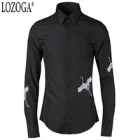 красная китайская одежда оптовых-Lozoga Chinese Style Men Shirts Original Design Red-crowned crane Long-sleeved  Clothing  Fashion Black and White