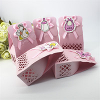 le baptême favorise les bonbons achat en gros de-Kid Favors Cadeau Doux Anniversaire Sac Event Party Fournitures Mignon Garçon Et Fille Baptême Baby Shower Candy Box Décoration Fournitures