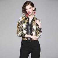 ingrosso le camicie delle signore-Vintage Casual Paisley floreale stampato shirt da donna Runway Primavera Autunno del risvolto del collo camicette Office Lady sexy di affari elegante sottile Camicie Tops