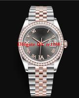 18 mens relógio de diamantes venda por atacado-6 Estilo Novo modelo 126281RBR 126281 116244 Oyster Perpetual 36mm Dois tons 18 k Rose Gold Diamante moldura Automática Mens Relógios de Pulso