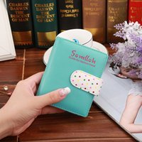 Wholesale cute woman ladies wallet online - Cute Polka Dot hasp Lady Women Wallets Bifold Card Holder Slots Coin Organizer Bag Short Wallet X479