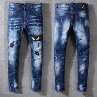 Wholesale little feet jeans for sale – denim 2019 New Jeans High Quality Luxury Men Designer Jeans Patch Slim Paint Little Feet Locomotive Mens Jeans Size