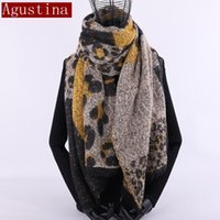 wolle hijab groihandel-cashmere scarf Leopard print winter women wool Brand shawl hijab luxury for ladies long scarves thick oversize pashmina sjaal