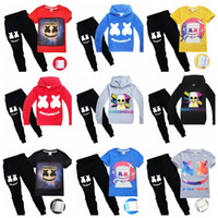 Wholesale yellow top kids clothing resale online - Marshmello DJ Music Boy Clothing Set top jackets or T shirt long pants children boy casual outfits kids cotton clothing suit