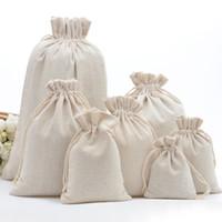 bolsa artesanal venda por atacado-Musselina artesanal de Algodão Com Cordão Embalagem Sacos de Presente para o Café de Café de Armazenamento De Malote De Jóias Favores Rústico Folk Natal