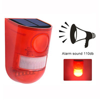 Wholesale siren for home alarms resale online - Solar Powered Sound Alarm Strobe Light Flashing LED Light Motion Sensor Security Alarm System dB Loud Siren for Home Villa Farm Hacienda