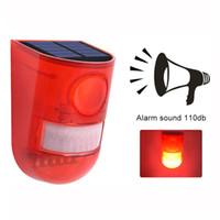 luz estroboscópica de alarma al por mayor-Solar Powered Sound Alarm Strobe Light Parpadeante 6LED Sensor de movimiento ligero Sistema de alarma de seguridad 110dB Sirena ruidosa para el hogar Villa Farm Hacienda