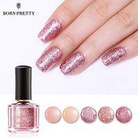 goldnagel pailletten großhandel-Hot Rose Gold Serie Nagellack 6ml Rosa Nude Pure Color Lack Glitter Pailletten Nail Art Lack