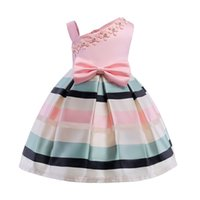 Wholesale wearing suspender skirt for sale - Group buy Bow Dress Kids Party Wear Children s Clothing Girl Wedding Dresses Single Shoulder Pearl Flower Skirt Dance Prom Formal Gown