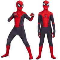 erkekler için anime cosplay kostümleri toptan satış-Ana Peter Parker, Cosplay Kostüm Zentai Spiderman Süper kahraman bodysuit Suit tulum itibaren 2019 Çocuk Örümcek Adam Uzak