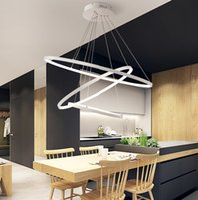 alüminyum askılı ışık fikstürü toptan satış-Modern Dairesel Halka Kolye Işıkları 3/2/1 Daire Halkaları Akrilik Alüminyum vücut Oturma Odası Yemek Odası Için LED Aydınlatma Tavan Lambası Fikstür