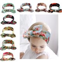 diadema flores grandes para las niñas al por mayor-Bohemian Headbands Girls 8 color Big bow belt Niños imprimiendo Kids Baby Flower Hairbands 17.5 * 5.5CM