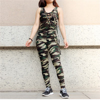 Wholesale yoga pants models resale online - 2019 Explosion Models Sports And Leisure Suits Europe And The United States Yoga Pants Sexy Tight fitting Camouflage Sleeveless Jumpsuit Out