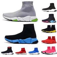 повседневная обувь для гонщиков оптовых-Дизайнер Носок обуви Speed Trainer кроссовки для мужчин Женщины Спорт Париж Носок Racer Runner Luxury Vintage Черный Белый Красный Повседневный обуви