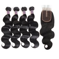 Wholesale wet wavy human hair extensions for sale - Group buy Indian Water Wave Human Hair Bundles With Closure Peruvian Wet and Wavy Hair Bundles Malaysian Body Wave Deep Loose Hair Extensions