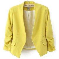 blazer feminino venda por atacado-Blazer Mulheres Doce Cor Feminino Blazer Mulheres Jacket 3/4 Pockets Nenhum Botão Mulher Magro Curto Suit Jacket Blazer Feminino