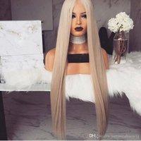 lange seidig blonde haare großhandel-Mode 180% Dichte Seidige Gerade 26 zoll Lange Asche Blonde Lace Front Perücken Mit Dem Babyhaar Hitzebeständige Synthetische Perücken Für Schwarze Frauen