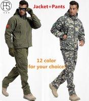 terno à prova de vento do exército venda por atacado-Venda quente Dos Homens Do Exército Tático Ao Ar Livre Terno Esportes Caça Camping Escalada À Prova D 'Água À Prova de Vento À Prova de Vento Jaqueta + calça