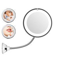 luces led espejo dormitorio al por mayor-360 grados Espejo de maquillaje Espejo flexible con luz LED Espejo de baño de aumento 10X plegable Vanidad Miroir baño dormitorio de la lámpara luz de la noche