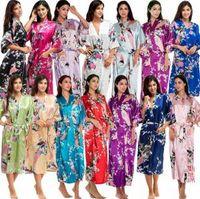 Wholesale wedding robes online - Silk Satin long Floral Robe Women Kimono Short Sleepwear Print Wedding Bride Bridesmaid Silk stain Floral Bathrobe AAA1660