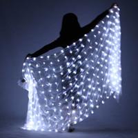 velos de seda bailando al por mayor-LED Belly Dance Silk Scarf- Light Up Veil Scarf Performance Costume Party Club Wear Accesorios de baile Accesorios