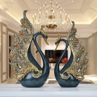figürchenhochzeit großhandel-Europäische Luxus Kreative Harz Schwan Ornament Dekoration Handwerk TV Schrank Büro Statuen Zubehör Hochzeitsgeschenk Figuren