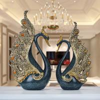 ingrosso figurine per il matrimonio-Europeo di lusso creativo Resina Swan Ornamento Decorazione Artigianato Artigianato TV Cabinet Statuina Accessori Figurine regalo di nozze