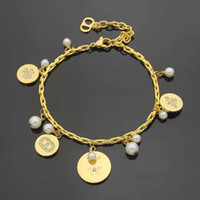 Wholesale 18k gold bracelet thin resale online - luxury designer jewelry women Bracelet k Gold bracelets with pearl roundel pendant silver rose gold thin chain with letters charm bracelet