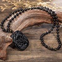 pendentif lotus sculpté achat en gros de-Koi Poisson Lotus Bon Chanceux Riche Symbole Obsidienne Sculpté Pendentif Collier Cadeaux D'affaires