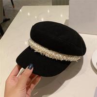weihnachtshüte für damen groihandel-Luxus-Designer-Frauen Armee Kappen mit Perlendekoration schwarz alle Spiel Kord Dame Hüte Frau Weihnachten Geburtstagsgeschenk