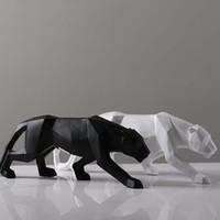chevaux d'art classique achat en gros de-Creative Moderne Abstrait Noir Panthère Sculpture Géométrique Résine Léopard Statue Faune Décor Cadeau Artisanat Ornement Accessoires Ameublement