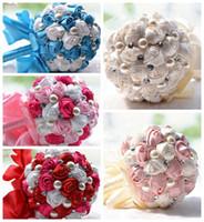ingrosso crema artificiale-Bridal Wedding Bouquet Artificial Cream Fuchsia Blu Bridesmaid Flower Crystal Pearl Silk Rose Wedding Decoration Cheap