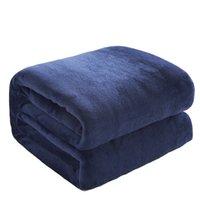 Wholesale bedspreads for king beds online - Winter Warm Soft Coral Fleece Flannel Blanket Solid Blue Color Faux Fur Bedspread For Bed Washable Sofa Cover Plaid Blankets
