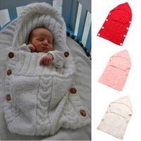 Wholesale plain blankets for sale - Group buy Baby Newborn Toddler Blanket Handmade Infant Babies Sleeping Bag Knit Costume Crochet Baby Knitted Sleeping Bags Sleep Sacks Button