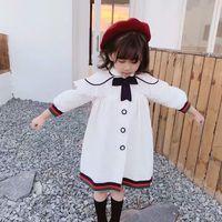 Wholesale girls white dress coat for sale - Group buy baby girl minute sleeve dress children spring cotton linen dress kids autumn clothes