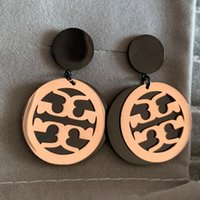 circulo de titanio al por mayor-2019 de calidad superior del diseñador de la marca de oro rosa círculo negro pendientes de gota de moda de acero titanium pendientes de verano para mujeres niñas al por mayor