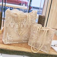 loja de noiva em renda venda por atacado-Saco de compras do Chic Lace Mulheres Handbag Bridal Party Wedding Totes Shoulder Bag Lady Summer Beach Grande Capacidade Bordados Mulheres