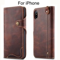 Wholesale iphone flip real online – custom Luxury Business Style Genuine Real Leather Wallet Case for iPhone XR XS Max Flip Case Cover Card Holder for iPhone Plus