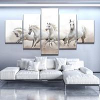 ingrosso cavallo bianco della tela di canapa della pittura a olio-Gruppi di White Horse Oil Painting Moda home decor Immagine della parete 5 Pz / set Poster su tela Poster da parete Per salotto Senza cornice