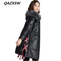 длинные шубы оптовых-2018 New Women's Winter Genuine Leather Jacket Leather Down Outer Long Sheep Skin  Fur Collar Hooded Thick Warm Coat LE354