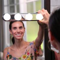 batería de espejo led al por mayor-LED Studio Glow Make Up Iluminación Super Brillante 4 Bombillas LED Espejo de maquillaje cosmético portátil Batería Powered Light Espejos de maquillaje k020